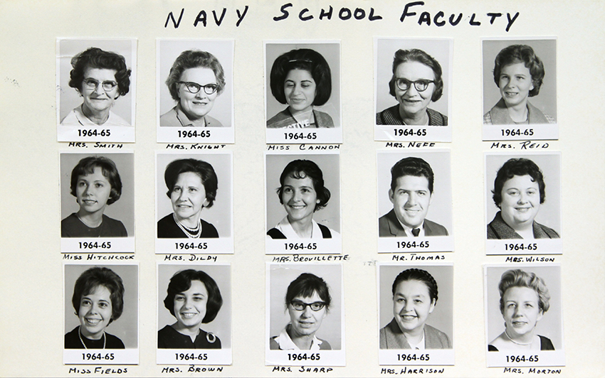 Black and white directory photographs showing Navy Elementary School's teachers and principal.