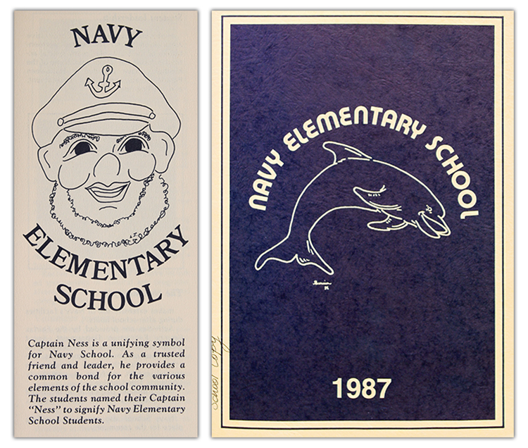 Photographs showing Captain Ness and the dolphin mascots.