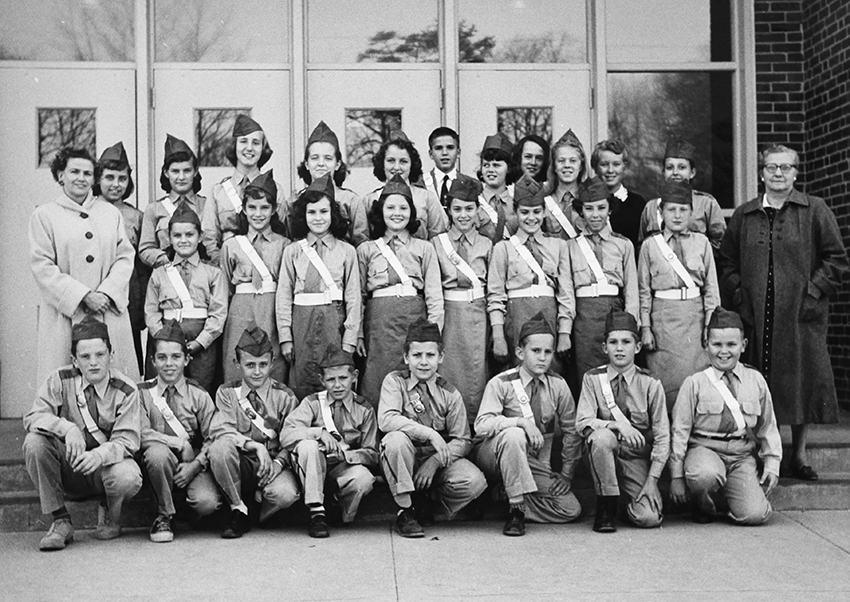 Black and white photograph of Navy Elementary School's Safety Patrol in the late 1950s.